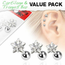 Gem Ear Tragus Conch Helix Earring Stud Ring 3 Pc 16G 3mm Prong Set Star Cz