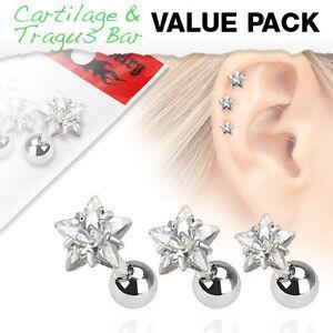 3 PC ⭐⭐⭐ 16G 3mm Prong Set Star CZ Gem Ear Tragus Conch Helix Earring Stud Ring