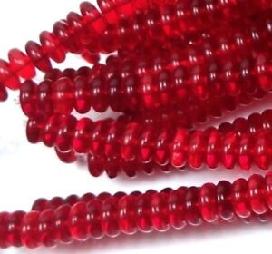 50 Czech Glass Rondelle Beads - Siam Ruby 6x2mm