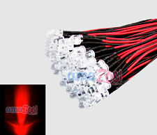 100pcs 5mm 24v Pre Wired led Bulbs Light Water clear 24V 20cm Lamp (red)