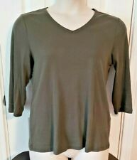 NEW - by Chico's - dark green 3/4 sleeve pullover stretch blouse - Size 2