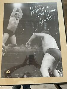 hulk hogan andre the giant Autograph poster Authenticated