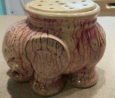 Vtg ceramic elephant blown glass eyes purple vein glaze flower frog Germany