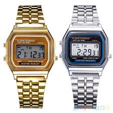 Men's Women's Stainless Steel LCD Digital Sports Stopwatch Wrist Watch Novelty