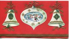 New listing VINTAGE CHRISTMAS WHITE ORNAMENTS FOR TREE ICE SKATING POND MID CENTURY ART CARD
