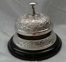 ORNATE ANTIQUE STYLE NICKEL SILVER FINISH HOTEL SERVICE/ DESK BELL.  New.