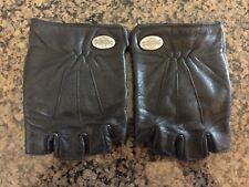 Womens Harley Davidson Black Leather Fingerless Motorcycle Gloves Biker