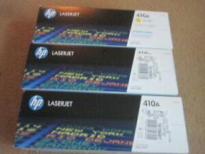 HP 410A ORIGINAL LASER JET TONER CARTRIDGE YELLOW BLUE MAJENTA NEW