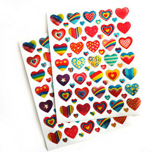 120 Heart Stickers Assorted Ideal Valentine Wedding Mothers Card Gifts Letters