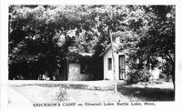 Battle Lake Minnesota Erickson's Camp Ottertail Lake RPPC Photo Postcard 12492