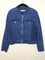 Bianca Nygard Cropped Denim Blue Jean Jacket Zip Front Size Large Worn 2 Times