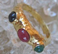 ✨ WoW ✨ Designer Ring in aus 585 Gold mit Rubin Safir Smaragd Edelsteine Emerald