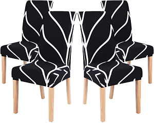 papasgix Dining Room Chair Covers Set of 4, Stretch Removable Washable Spandex D