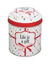 Tin Box Life is a gift ⍉8,7cm Metall Teedose Vorratsdose Krasilnikoff