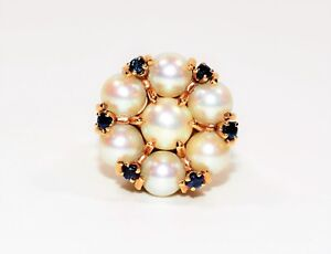 Akoya Pearl & Blue Sapphire 14kt Yellow Gold Cluster Statement Women's Ring
