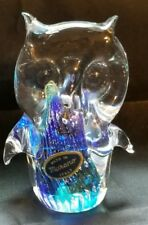 OWL MURANO GLASS BIRD FIGURINE BLUE ART GLASS FIGURINE PAPERWEIGHT ITALY