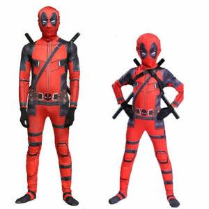 Boys Partys Kids Deadpool Cosplay Costume Lycra Zentai Bodysuit Jumpsuit set