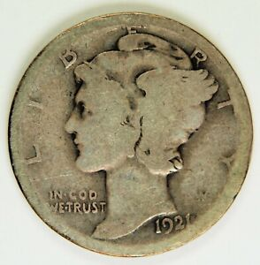 1921 D 10C WINGED LIBERTY MERCURY DIME *MD006
