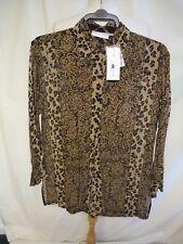 Ladies Top Shirt Bruna Cavvalini, size L, brown animal print viscose, long 1769