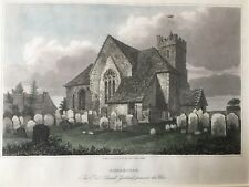 1835 Antique Print; St Mary Our Lady Church, Sidlesham, near Chichester, Sussex