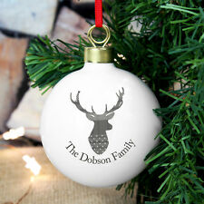 Personalised Highland Tartan Stag Bauble Add Any Message Tree Decoration