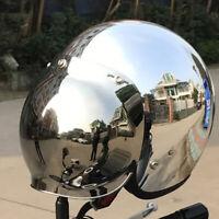 DOT Motorcycle Helmet Open Face Chrome Silver Half 3/4 Jet Helmet w/Sun Visor