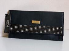 NEW! BCBG PARIS BLACK GOLD STUDDED ACCENT CLUTCH BAG PURSE $78 SALE