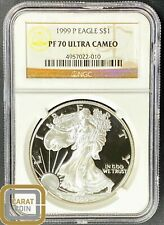 1999-P American Silver Eagle Proof NGC PF70 Ultra Cameo Perfect Key Date Coin $1