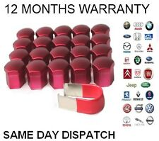 20x Red Alloy Wheel Nut Caps Bolt Covers Vauxhall  Ford Peugeot Citroen VW 17mm