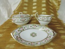 Noritake China Nippon Cream and Sugar with lid Set with Plate