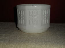 Vintage MILK GLASS Planter Bowl Round Octagon ASIAN Embossed Character Panels