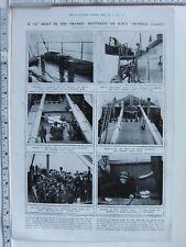 1918 WWI PRINT Q BOAT THAMES HMS SUFFOLK COAST CONCEALED BIG GUN LIEUT AUTEN