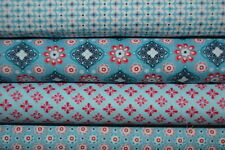 lot de 4 coupons de tissu patchwork cotonnade petits motifs tons bleus 24x70cm