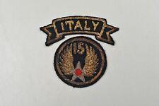"WWII U.S. 15th ARMY AIR FORCE PATCH w/""ITALY"" TAB - ITALIAN MADE BULLION"
