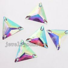 20x AB Colorful Triangle Sew-on Resin Beads Buttons Fit Jewelry Crafts 22mm J