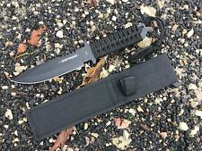 "12"" Defender Xtreme Hunting Knife Black Handle and Sheath. 1737"