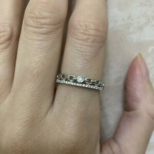 9ct 10ct Solid White Gold And Diamond Ring Very Unusual Dainty size N N.5