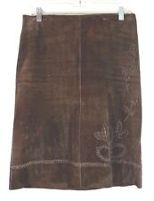 Karen Kane Lifestyle Genuine Dark Brown Suede Vintage Skirt S/6 Hippie  *1008