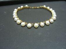 "VINTAGE WOMENS DIAMOND PEARL 14 KARAT YELLOW GOLD BRACELET ESTATE 7.0"" WOW"