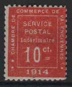 "FRANCE YVERT WAR STAMP 1 "" VALENCIENNES 10c 1914 VERMILION "" MH VF R228"