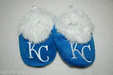 Baby Boys Slippers BLUE KC KANSAS CITY ROYALS BOOTIES Faux Fur Lining 6-9 MO