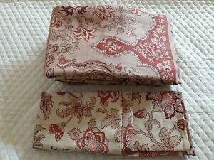 3- Piece Pottery Barn Tascha Jacobean Floral  Full/Queen Duvet Cover Set NWOT