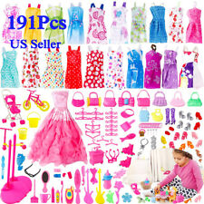 191pcs Doll Clothes Skirt Accessories Shoes Bags Necklace Tableware for 12