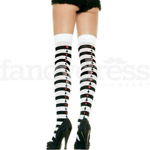 Alice Stockings Card Suits Striped Queen of Hearts Cosplay Fairytale Fancy Dress