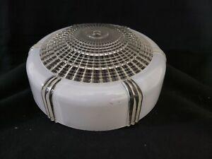 "1950s Art Deco Flush Mount Glass Ceiling Light Shade Cover - White / Clear 10"""