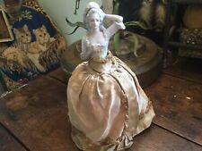 Antique Vintage Half Doll Pin Cushion Silk Dress Pink Rose Flower Ribbon Trim