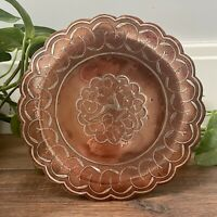 Vintage Copper Tray Cairoware? ELK Platter Plate Candle Holder Centrepiece Decor