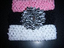 baby girls WHOLESALE LOT gerber DAISY FLOWER zebra stripe HAIR BOW 3 HEADBANDS