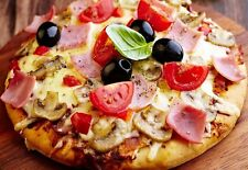 Cafe Restaurants Kitchen Food Pizza Ham Mushroom Black Olive Pepper Yummy Poster