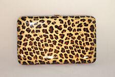 Leopard Print Designer Flat Wallet with Pink Trim 201